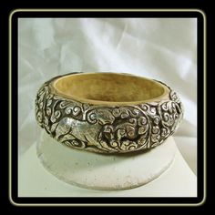 Wide Tibetan Bone Bangle Covered in Sterling Repousse Designs