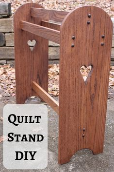 Learn step-by-step how to make a standing quilt rack. These make great gifts for Valentine's Day, Mother's Day or Christmas. Requires minimal tools and skills to make. Check out my full tutorial and make one this weekend. Woodworking Books, Easy Woodworking Projects, Woodworking Techniques, Woodworking Furniture, Fine Woodworking, Wood Furniture, Woodworking Equipment, Furniture Repair, Woodworking Magazine
