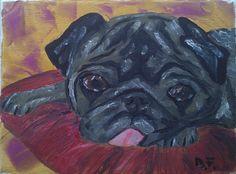 pug, oil painting