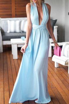 Light Blue Perfect Date Maxi Dress - OASAP.com