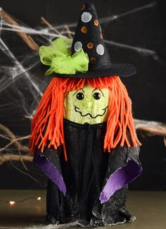 Whimsical Halloween Mason Jar Witch - decorating with mason jars - easy quick kid crafts - mason jar craft ideas