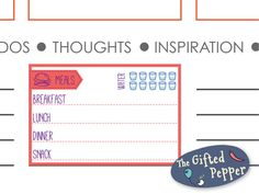 This sticker is a cute way to track your food and water intake. It is designed to fit the daily note section in Erin Condren life planner. There
