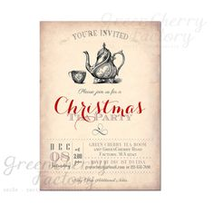 27b28de116b041ac9f2f459c24b65c13 high tea invitations printable invitations women's meeting afternoon tea invitation invitations,Christmas Tea Party Invitations