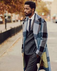 Lakeith Stanfield, star of the hit series Atlanta, sports a Fendi Fall/Winter 2016-17 Men's coat for The Cut Magazine.