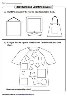Finding, Coloring, and Counting Squares Perimeter Worksheets, Geometry Worksheets, Introduction To Geometry, Perimeter Of Rectangle, Squares, Coloring, Drawings, Bobs, Sketches
