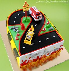Number 2 cake - excavator fire truck engine :)