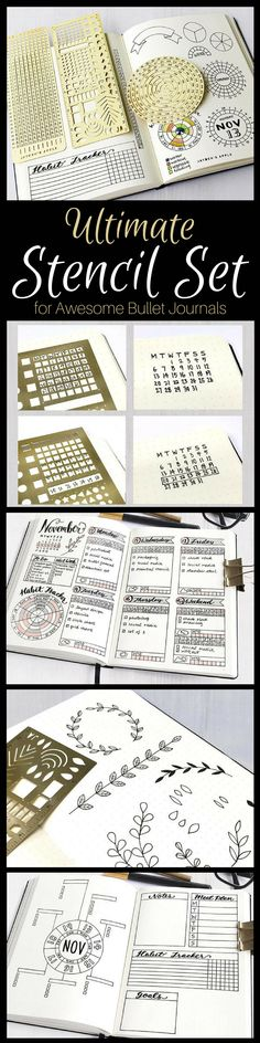 Everything you need to make creative layouts in your bullet journal! Bullet Journal Essential Stencil Set includes Grid Chart / Line Stencil, Checklist / Keys Stencil, Circle Chart / Circle Stencil, Black Folder #Bulletjournal #planner #stencil #ad #etsyseller