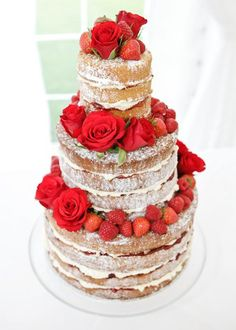 Asia- This naked cake might be what we go for if anything happens to premade icing during the trip to Tulsa. We can plan on making a strawberry filled sponge cake, and just go crazy with powdered sugar and flowers and roses if icing it seems like too big of a job on D-day. I think this is pretty enough
