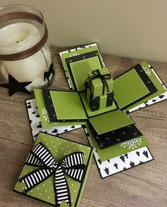 Surprise Box Gift, Diy Gift Box, Boite Explosive, Birthday Explosion Box, Exploding Gift Box, Celebration Box, Pop Up Box Cards, Mini Craft, Photo Album Scrapbooking