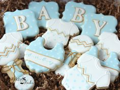 Chevron Baby Shower Cookies, It's A Boy Decorated Cookies, Baby Bib Cookies…