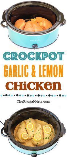 Crockpot Lemon Garlic Chicken Recipe at TheFrugalGirls.com