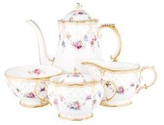 Royal crown Antoinette coffee service. I adore this! If it has a matching teapot I would be all set lol,  Sstyleaffiliate