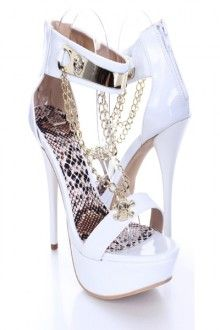 White Patent Faux Leather Skull Chain Heels