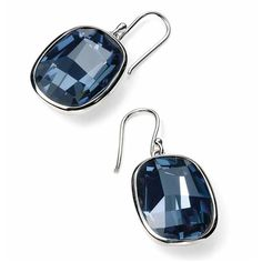 VAVOO Denim Blue Swarovski Crystal Sterling Silver Earrings (€60) ❤ liked on Polyvore featuring jewelry, earrings, metallic, blue silver jewelry, denim earrings, blue swarovski crystal earrings, sparkly earrings and silver jewellery
