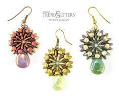 Free Bead Pattern: Sunray Earrings by TrendSetter Patrick Duggan   CzechMates QuadraTile and Triangle, Pear Drop, Mini Dagger beads.