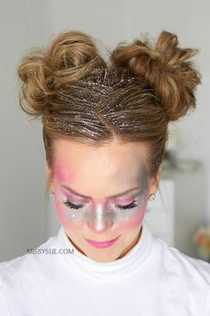 New Halloween tutorial! Click the link in my bio to learn how how to recreate these easy Galaxy Girl Glitter Buns! Alien Halloween Costume, Looks Halloween, Alien Costumes, Updo, Glitter Eyebrows, Glitter Eyeshadow, Space Costumes, Space Girl Costume, Galaxy Makeup