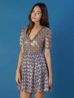 Rainbow Dancer Dress – Sister Jane Clothes Horse, Head To Toe, 70s Fashion, Cool Outfits, Dancer, Short Sleeve Dresses, Rainbow, Casual, Beautiful