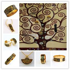 Jewels inspired by The Stoclet Frieze-Trees of life 1905-1911, Gustav Klimt.