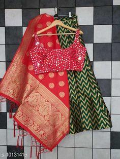 Lehengas Classy Stylish Banarasi Jacquard Silk Women's Lehenga Vol 14 Topwear Fabric: Silk Bottomwear Fabric: Banarasi Jacquard Silk Dupatta Fabric: Banarasi  Silk Set type: Choli And Dupatta Top Print or Pattern Type: Banarasi Silk Bottom Print or Pattern Type: Weaving Work Dupatta Print or Pattern Type: Zari Work Sizes:  Semi Stitched (Blouse Size: Up To 40 In  Lehenga Waist Size: Up To 44 in Lehenga Length Size : Up To 40 In Dupatta Size:  2.25 Mtr) Country of Origin: India Sizes Available: Free Size, Semi Stitched   Catalog Rating: ★4.3 (489)  Catalog Name: Classy Stylish Banarasi Jacquard Silk Women's Lehenga Vol 14 CatalogID_1823060 C74-SC1005 Code: 3221-10131415-5733