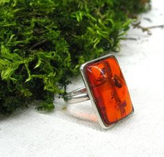 Cherry Baltic Amber ring for woman size 9 gift for by SanaGem