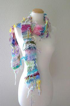 oh scrap scarf . handknit eco friendly bohemian gypsy trashion fashion summer accessories pastel rainbow wearable fiber art