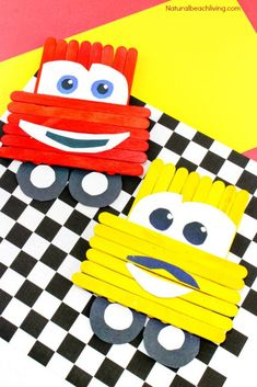 Disney Pixar Cars Popsicle Stick Crafts for kids Great Craft idea for kids Lightning McQueen Crafts Luigi Cars Party Idea A Perfect Disney Fan Activity Arts And Crafts For Adults, Crafts For Teens To Make, Arts And Crafts House, Easy Arts And Crafts, Diy For Kids, Popsicle Stick Crafts For Kids, Popsicle Sticks, Craft Stick Crafts, Preschool Crafts