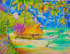 A personal favorite from my Etsy shop https://www.etsy.com/listing/181755751/my-polynesian-hut-30-x-22-on-watercolor