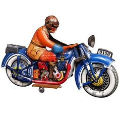 Rare tinplate motorcycle by J.M.L (France), c. 1940  | From a unique collection of antique and modern toys at http://www.1stdibs.com/furniture/folk-art/toys/