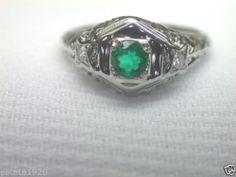 Antique Colombian Emerald Diamond Engagement Ring Solitaire Vintage 18K Art Deco