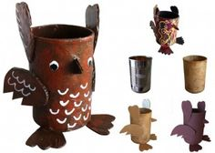 Soup Can Paper Mache Owls - Art Projects for Kids