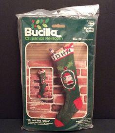 "Mr Mrs Claus Bucilla Christmas Stocking Kit Knit Santa 2 Designs 7964 22"" New | eBay"