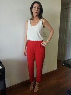 Two Cute Boutique, Red Parachute Pants, High Waisted, Scalloped Top, Outfit, Tan Heels, Gold Earrings.