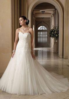 Elegant a-line tulle appliqued Ruching wedding dress - Dress2015.com