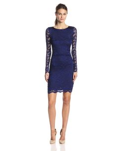 Flower Scroll Stretch Lace Dress by Nicole Miller
