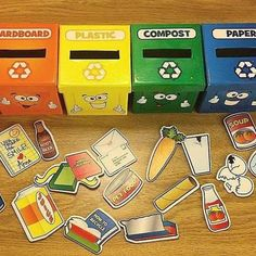 When your Learn To Recycle Activity Boxes from are ROYGBIV colors What a great way to learn about recycling during your Earth Day activities! Learn to Recycle Activity Boxes use 6 boxes labeled with different types o . Recycling Activities For Kids, Recycling For Kids, Recycling Games, Kindergarten Activities, Toddler Activities, Learning Activities, Center Ideas For Kindergarten, Outdoor Preschool Activities, Kindergarten Preparation