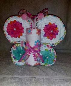 Diaper Butterfly Diaper Cake Pink Girls Receiving Blankets Baby Shower Decor