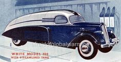 Old Print. 1937 White Model 700 Streamline Tanker Truck