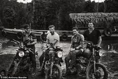 David Beckham and mates on a motorcycle road trip through the Brazilian rainforest. via MailOnline Triumph Scrambler, Scrambler Motorcycle, Triumph Motorcycles, Vintage Motorcycles, Triumph Bonneville, Motorcycle Gear, David Beckham, Derek White, Belstaff