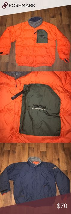 Vintage Medium Nautica Competition Puffer Jacket Small blemish on the front orange side Nautica Jackets & Coats Puffers