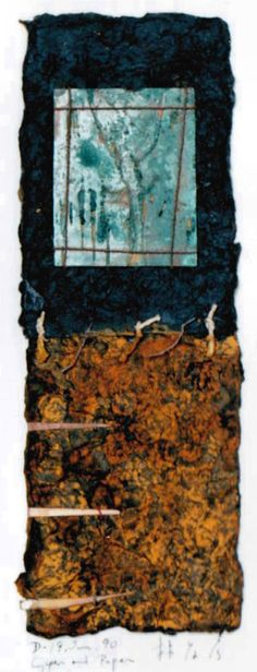 D-19.Jun.1990 copper and paper Mixed media/paper making,painting, collage 30x10.5cm 林孝彦 HAYASHI Takahiko 1990