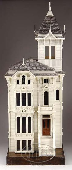 c. 1970 - This doll house was one of the first dolls' houses made by Jim Marcus. They were sought after and collector's waited years to have one built. This one is a copy of a San Francisco Victorian-style house - From the Estate of Geraldine Gaba, Scottsdale, AZ. - Dream Dollhouses
