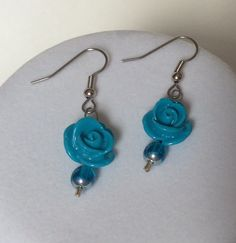 Turquoise Rose Dangle Earrings with Stainless Steel Ear Wires, Dangle Earrings, Drop Earrings, Rose Earrings, I Love Roses, Pretty, Glam by CreationsByLacieK on Etsy
