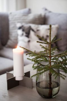 Minimalist Christmas decor Candle small tree