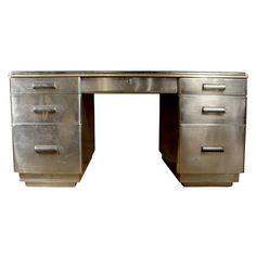 Art Deco Desk  France  circa 1930's  An Art Deco Desk in Steel with Brass Detailing