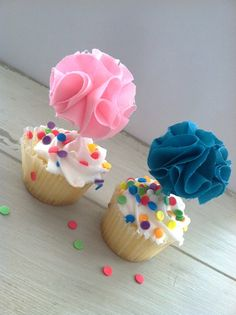 Mini Fabric Flower Cupcake Toppers 6 Party by EllaJaneCrafts, $10.00