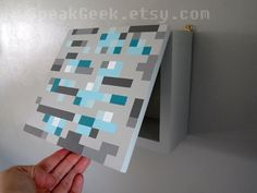 Minecraft Diamond Ore Shelf/Shadow Box   Hand Painted & Made to Order by SpeakGeek on etsy.com for $49.00/ea