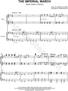 Print and download The Imperial March sheet music from Star Wars arranged for Piano/4 Hors. 1 Piano 4-Hands, and Instrumental Duet in G Minor.