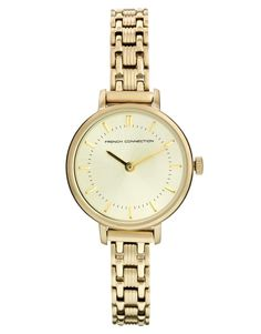 French Connection | French Connection Double Circle Dial Skinny Gold Watch at ASOS
