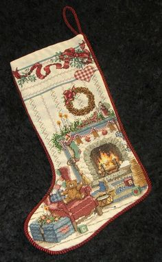 SPECIAL ORDER Finished Cross Stitch Christmas Stocking, Country Home FIREPLACE Setting. Fully Lined and Ready To Hang. $149.99, via Etsy.