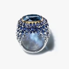The Art of the Sea - Ring in platinum and 18k gold with a 14.98-carat blue tourmaline. Tiffany & Co.